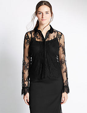 Lace Long Sleeve Shirt, BLACK, catlanding