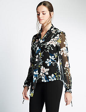 Fluted Pussybow Floral Blouse, BLACK MIX, catlanding