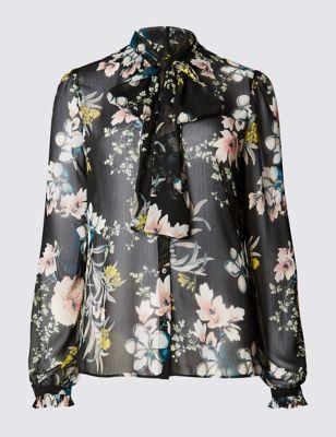 Прозрачная блузка с цветами M&S Collection T436963B