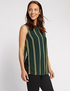 Ribbed Double Layer Striped Vest Top, GREEN MIX, catlanding