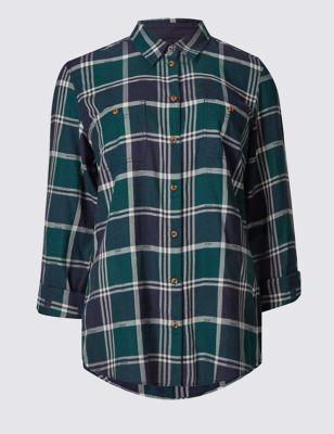Рубашка из чистого хлопка с рукавом 3/4 и закруглённым низом Indigo Collection T437107R