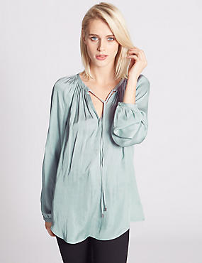 Long Sleeve Satin Blouse, DUCK EGG, catlanding