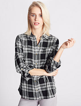 Pure Cotton Checked Long Sleeve Shirt, NATURAL MIX, catlanding