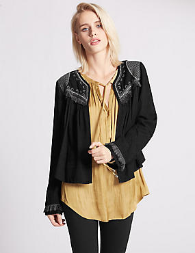 Long Sleeve Tassel Kimono Blouse, BLACK, catlanding