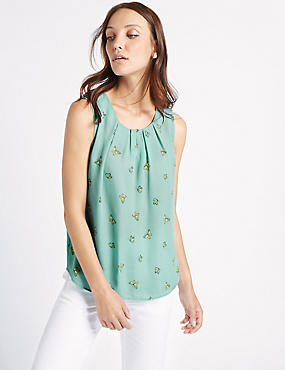 Butterfly Print Pleated Round Neck Vest Top, BLUE MIX, catlanding