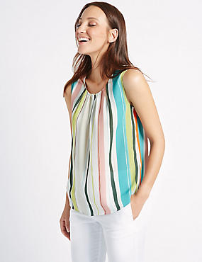 Striped & Pleated Round Neck Vest Top, MULTI, catlanding