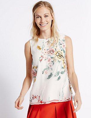 Floral Print Organza Vest Top , IVORY MIX, catlanding