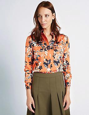 Floral Print Long Sleeve Shirt, ORANGE MIX, catlanding