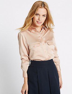 PETITE Long Sleeve Shirt, BLUSH, catlanding