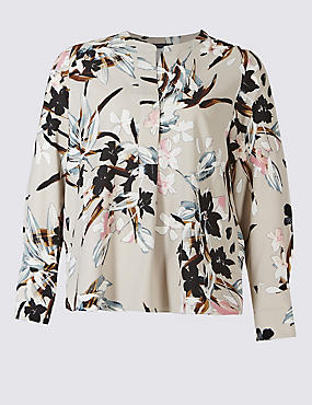 PLUS Floral Print Long Sleeve Tunic, GREY MIX, catlanding