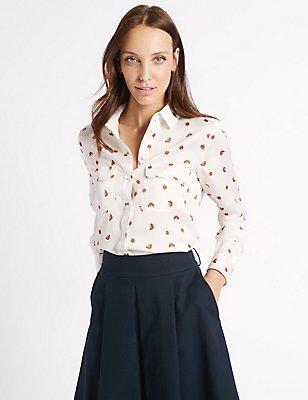 Lady Bird Print Long Sleeve Shirt, IVORY MIX, catlanding