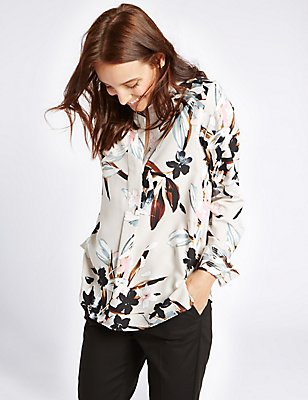 Floral Print Notch Neck Long Sleeve Blouse, GREY MIX, catlanding