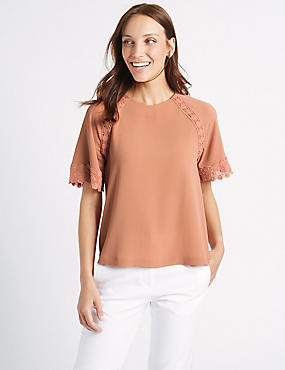 Crochet Trim Half Sleeve Shell Top, BLUSH, catlanding