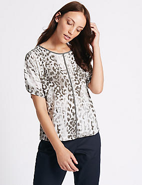 Animal Print Kimono Half Sleeve Shell Top, GREY MIX, catlanding