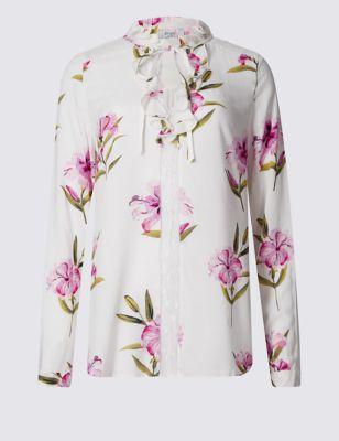 Приталенная блузка с жабо и цветочным принтом Per Una T437301