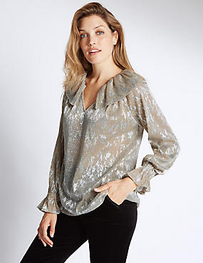 Long Sleeve V-Neck Clarissa Blouse, GOLD MIX, catlanding