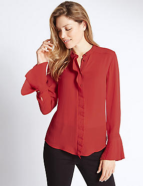 Frill Collared Neck Long Sleeve Blouse, RED, catlanding