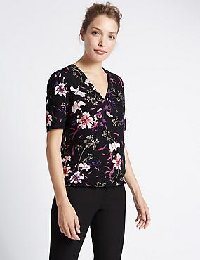 V-Neck Floral Print Shell Top, BLACK MIX, catlanding