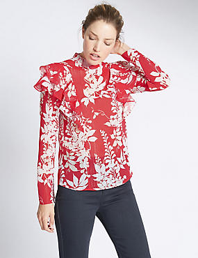 High Neck Cherry Blossom Blouse, RED MIX, catlanding