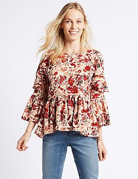 Floral Print Ruffle Sleeve Blouse, PINK MIX, catlanding