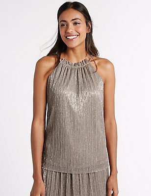 Pleated Shimmer Round Neck Vest Top, GOLD, catlanding