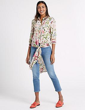 Floral Print Long Sleeve Shirt, NAVY MIX, catlanding