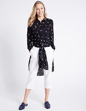 Printed Tie Front Long Sleeve Shirt, NAVY MIX, catlanding