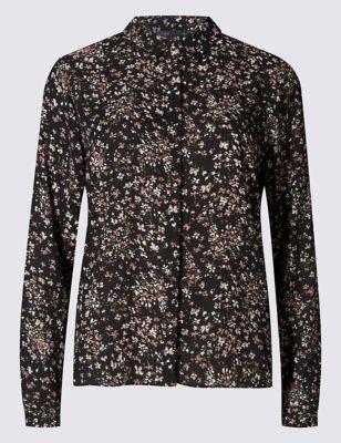 Укороченная рубашка свободного кроя в мелкий цветочек