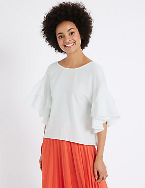Round Neck Flamenco Sleeve Shell Top, SOFT WHITE, catlanding