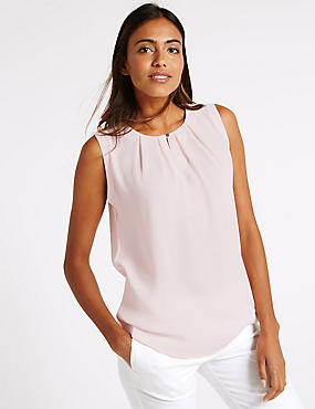 Pleated Round Neck Sleeveless Vest Top, BLUSH, catlanding