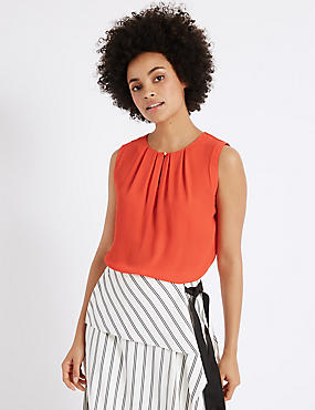 Pleated Round Neck Sleeveless Vest Top, ORANGE, catlanding