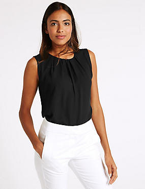 Pleated Round Neck Sleeveless Vest Top, BLACK, catlanding