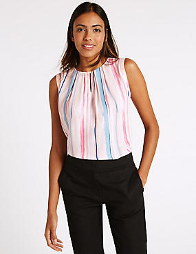 Striped Round Neck Sleeveless Shell Top, MULTI, catlanding