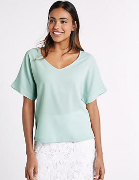 V-Neck Short Sleeve Shell Top, DUCK EGG, catlanding