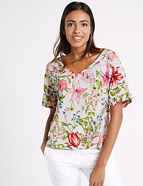 Floral Print V-Neck Short Sleeve Shell Top, IVORY MIX, catlanding