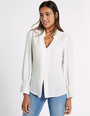Notch Neck Long Sleeve Blouse, , catlanding