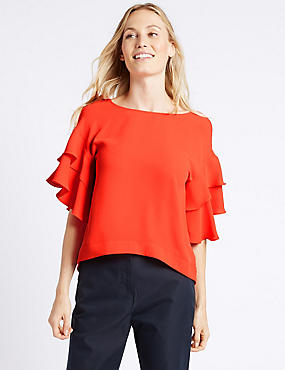 Round Neck Flamenco Sleeve Shell Top, BRIGHT ORANGE, catlanding
