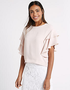 Round Neck Flamenco Sleeve Shell Top, PALE PINK, catlanding