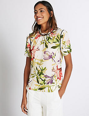 Floral Print Round Neck Short Sleeve Blouse, IVORY MIX, catlanding
