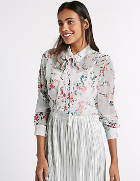 Printed Scoop Neck Ruched Sleeve Tunic, IVORY MIX, catlanding