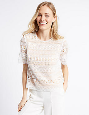 Lace Round Neck Half Sleeve Shell Top, IVORY MIX, catlanding
