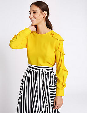 Ruffle Sleeve Round Neck Blouse, YELLOW, catlanding