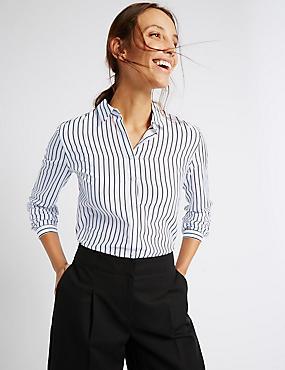 Cotton and Silk Blend Striped Shirt, IVORY MIX, catlanding