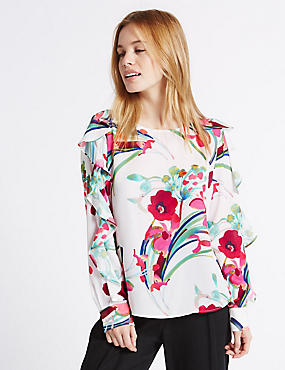 Petite - Blusa de manga larga con estampado floral, MEZCLA DE TONOS MARFIL, catlanding