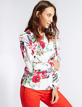 Floral Print Ruffle Split Sleeve Blouse, IVORY MIX, catlanding