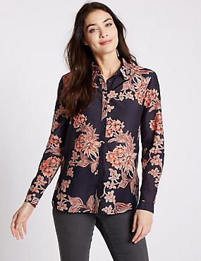Cotton Silk Floral Print Long Sleeve Shirt, NAVY MIX, catlanding