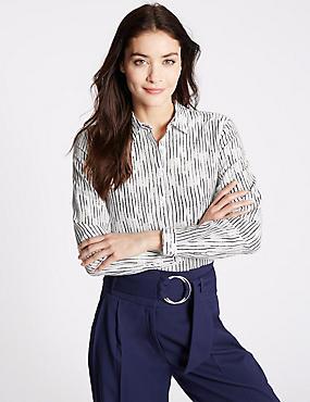 Cotton & Silk Blend Striped Shirt, IVORY MIX, catlanding