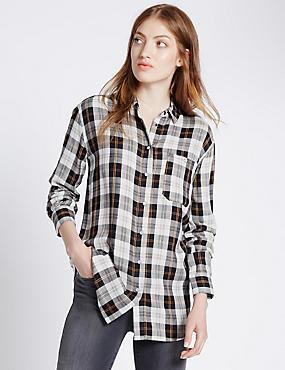 Oversized Checked Shirt, BLACK MIX, catlanding