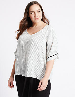 PLUS Linear Dot Print Shell Top, IVORY MIX, catlanding
