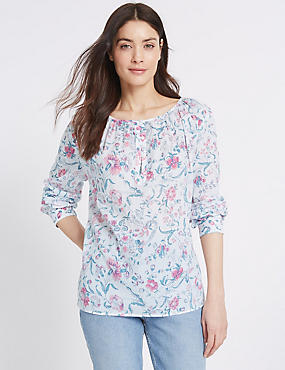 Pure Cotton Floral Print Long Sleeve Blouse, PINK MIX, catlanding